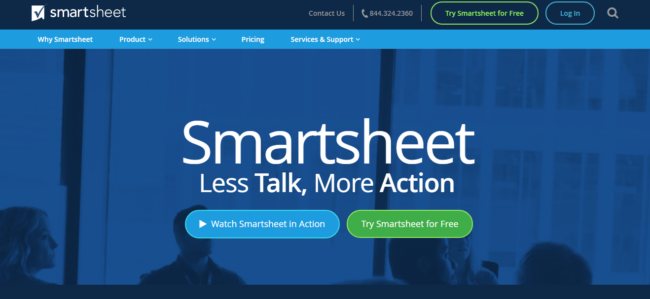 Smartsheet-Less-Talk-More-Action-e152065734560219 Free Basecamp alternatives for project management 2019