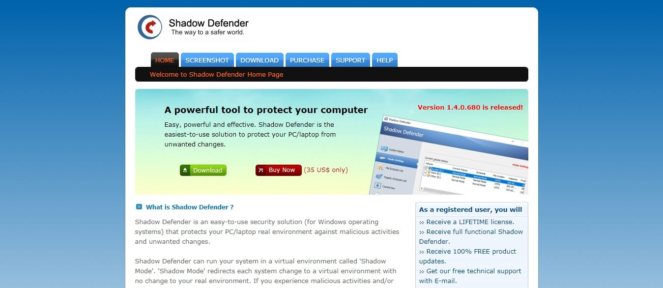Shadow Defender as websites like Sandboxie