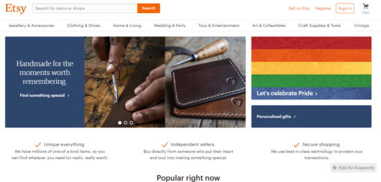 Etsy as alternatives to pinterest