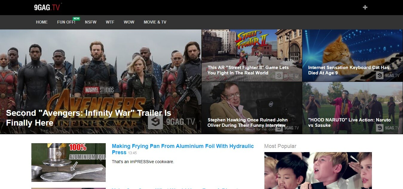 9Gag TV - Best sites like youtube for movies
